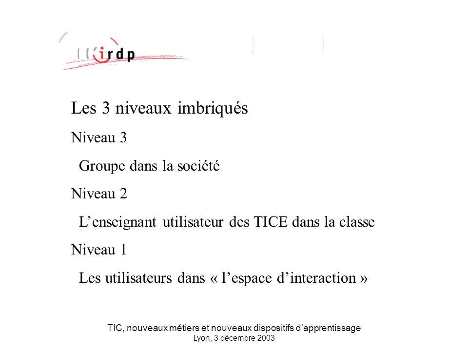 TIC, nouveaux métiers et nouveaux dispositifs dapprentissage Lyon, 3 décembre 2003 Les 3 niveaux imbriqués Niveau 3 Groupe dans la société Niveau 2 Lenseignant utilisateur des TICE dans la classe Niveau 1 Les utilisateurs dans « lespace dinteraction »