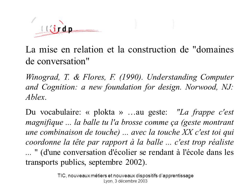 TIC, nouveaux métiers et nouveaux dispositifs dapprentissage Lyon, 3 décembre 2003 La mise en relation et la construction de domaines de conversation Winograd, T.