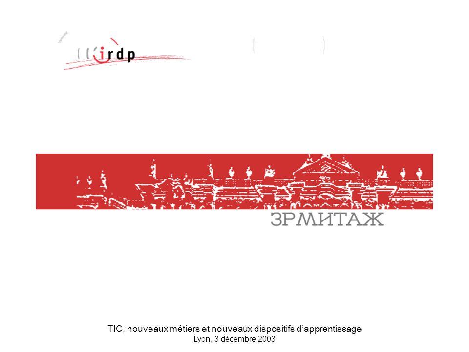 TIC, nouveaux métiers et nouveaux dispositifs dapprentissage Lyon, 3 décembre 2003