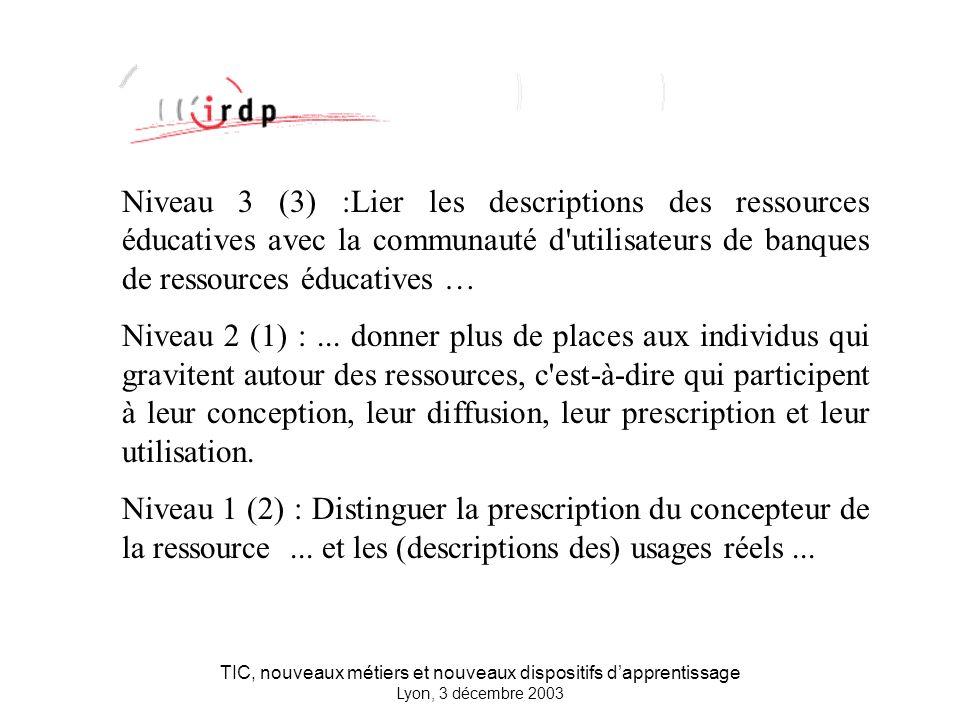 TIC, nouveaux métiers et nouveaux dispositifs dapprentissage Lyon, 3 décembre 2003 Niveau 3 (3) :Lier les descriptions des ressources éducatives avec la communauté d utilisateurs de banques de ressources éducatives … Niveau 2 (1) :...