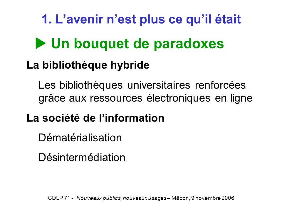 CDLP 71 - Nouveaux publics, nouveaux usages – Mâcon, 9 novembre 2006 1. Lavenir nest plus ce quil était Un bouquet de paradoxes La bibliothèque hybrid