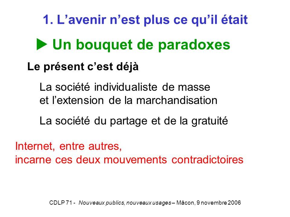 CDLP 71 - Nouveaux publics, nouveaux usages – Mâcon, 9 novembre 2006 1. Lavenir nest plus ce quil était Un bouquet de paradoxes Le présent cest déjà L