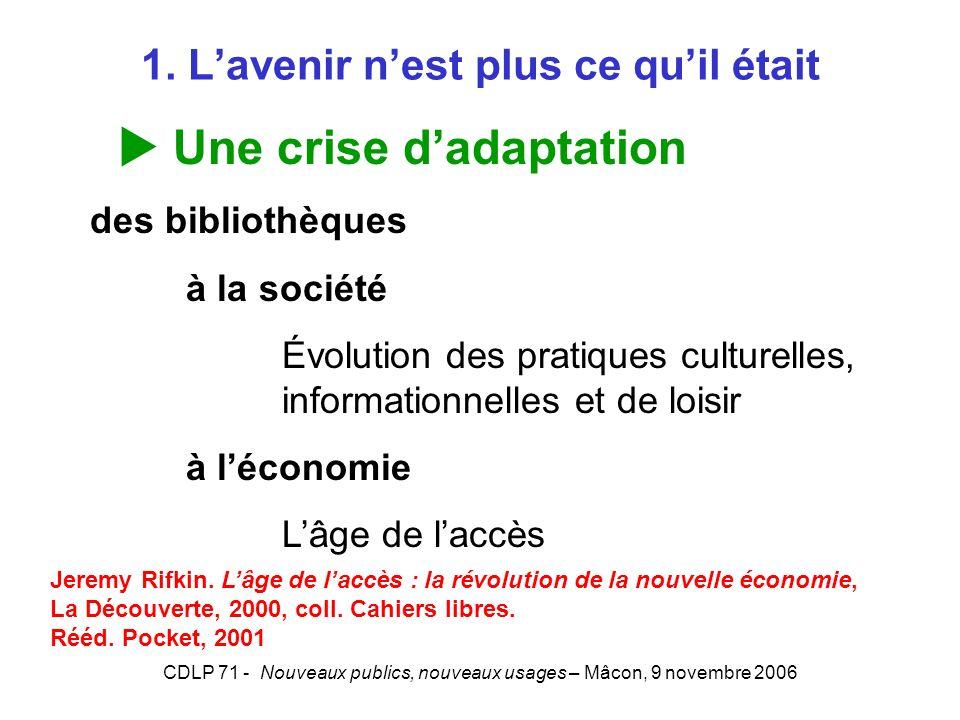 CDLP 71 - Nouveaux publics, nouveaux usages – Mâcon, 9 novembre 2006 1. Lavenir nest plus ce quil était Une crise dadaptation des bibliothèques à la s
