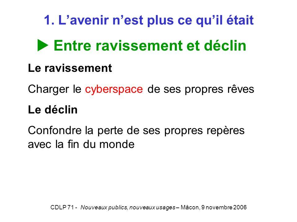CDLP 71 - Nouveaux publics, nouveaux usages – Mâcon, 9 novembre 2006 1. Lavenir nest plus ce quil était Entre ravissement et déclin Le ravissement Cha