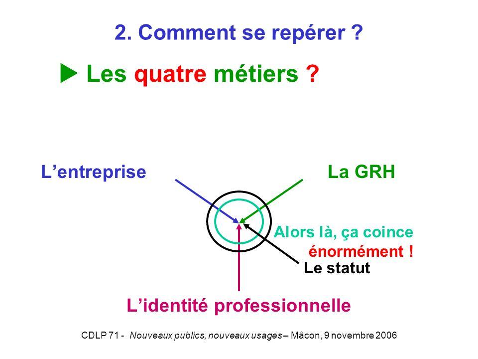 CDLP 71 - Nouveaux publics, nouveaux usages – Mâcon, 9 novembre 2006 Lentreprise La GRH Lidentité professionnelle Alors là, ça coince énormément ! Le