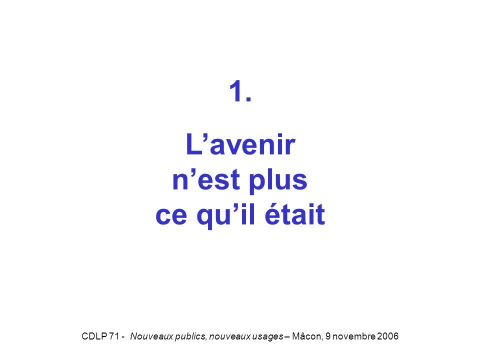 CDLP 71 - Nouveaux publics, nouveaux usages – Mâcon, 9 novembre 2006 1. Lavenir nest plus ce quil était
