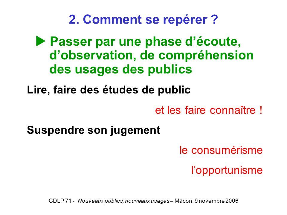 CDLP 71 - Nouveaux publics, nouveaux usages – Mâcon, 9 novembre 2006 2. Comment se repérer ? Passer par une phase découte, dobservation, de compréhens