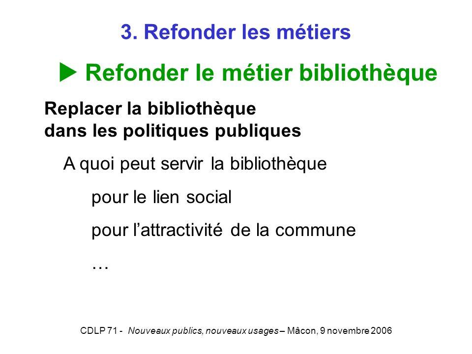 CDLP 71 - Nouveaux publics, nouveaux usages – Mâcon, 9 novembre 2006 3. Refonder les métiers Refonder le métier bibliothèque Replacer la bibliothèque
