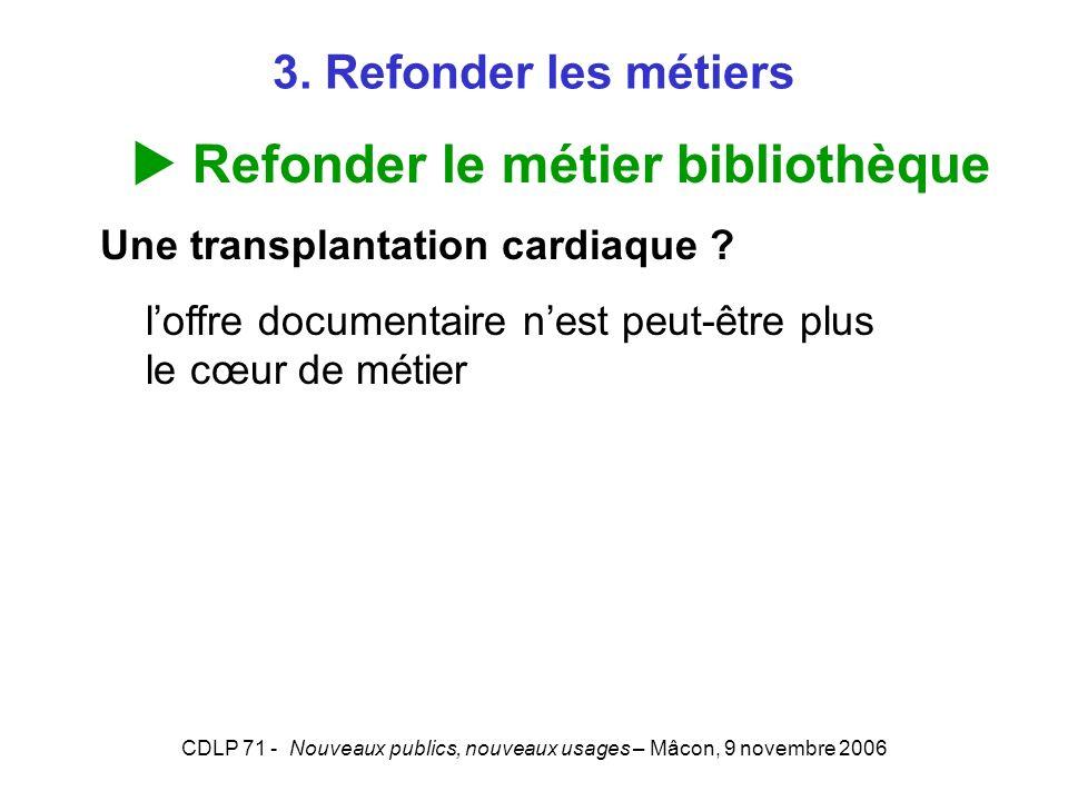 CDLP 71 - Nouveaux publics, nouveaux usages – Mâcon, 9 novembre 2006 3. Refonder les métiers Refonder le métier bibliothèque Une transplantation cardi