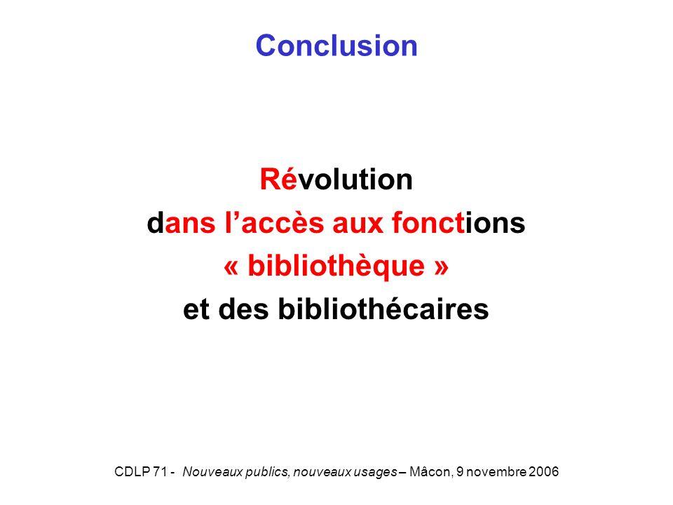 CDLP 71 - Nouveaux publics, nouveaux usages – Mâcon, 9 novembre 2006 Conclusion Révolution dans laccès aux fonctions « bibliothèque » et des bibliothécaires