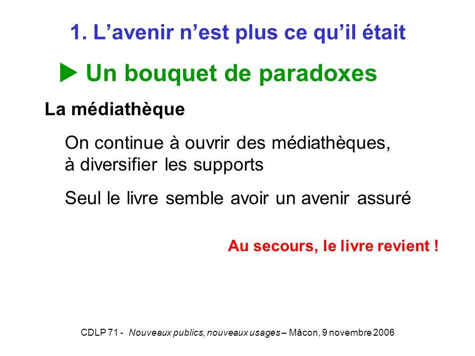 CDLP 71 - Nouveaux publics, nouveaux usages – Mâcon, 9 novembre 2006 1. Lavenir nest plus ce quil était Un bouquet de paradoxes La médiathèque On cont