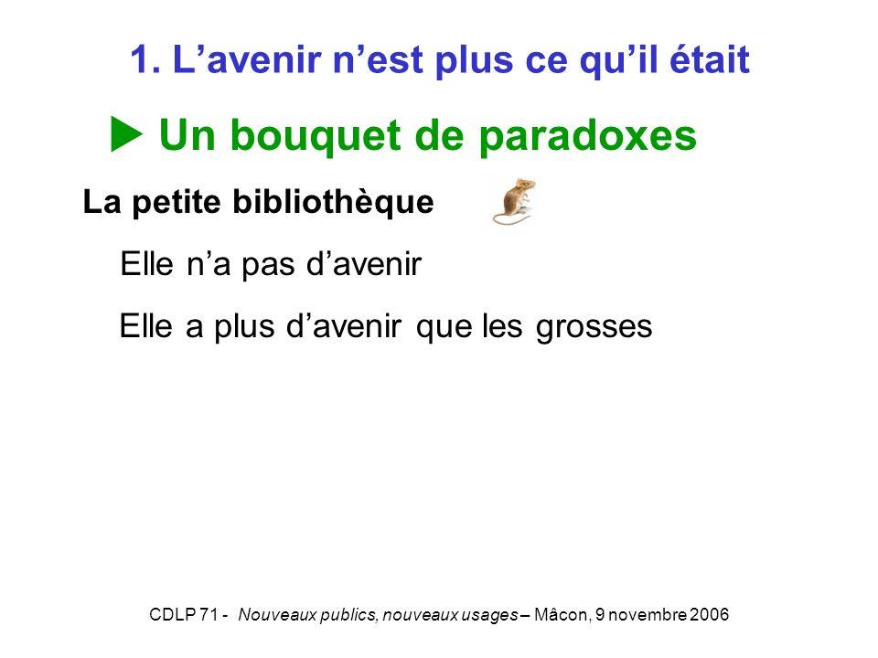 CDLP 71 - Nouveaux publics, nouveaux usages – Mâcon, 9 novembre 2006 Conclusion Révolution dans les fonctions « bibliothèque » et des bibliothécaires