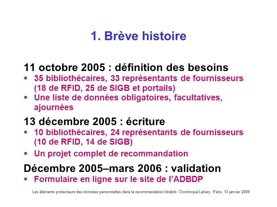 Les éléments protecteurs des données personnelles dans la recommandation Idrabib / Dominique Lahary, Paris, 13 janvier 2009 1. Brève histoire 11 octob