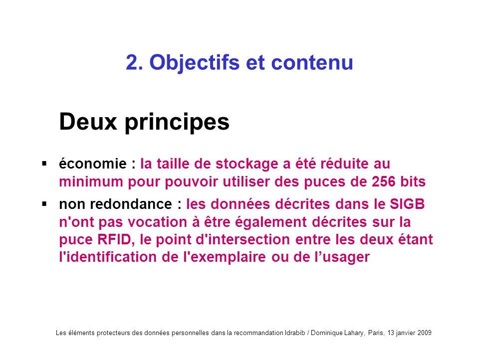 Les éléments protecteurs des données personnelles dans la recommandation Idrabib / Dominique Lahary, Paris, 13 janvier 2009 2. Objectifs et contenu De