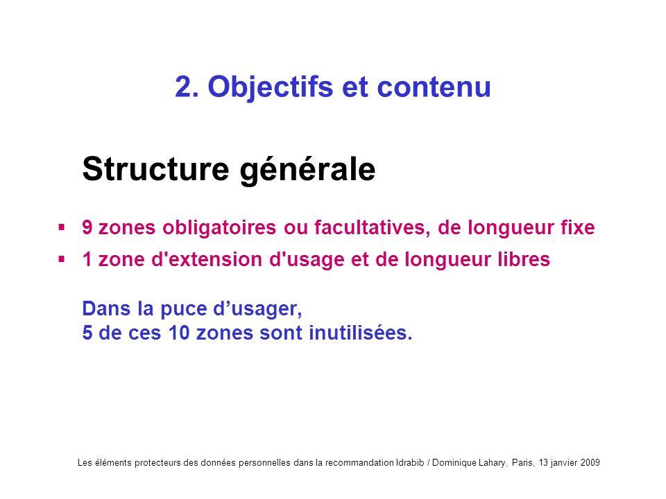 Les éléments protecteurs des données personnelles dans la recommandation Idrabib / Dominique Lahary, Paris, 13 janvier 2009 2. Objectifs et contenu St