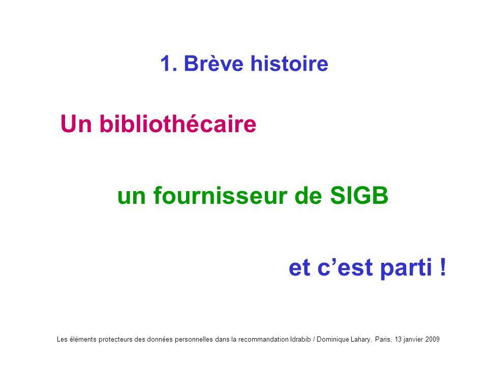 Les éléments protecteurs des données personnelles dans la recommandation Idrabib / Dominique Lahary, Paris, 13 janvier 2009 1. Brève histoire Un bibli