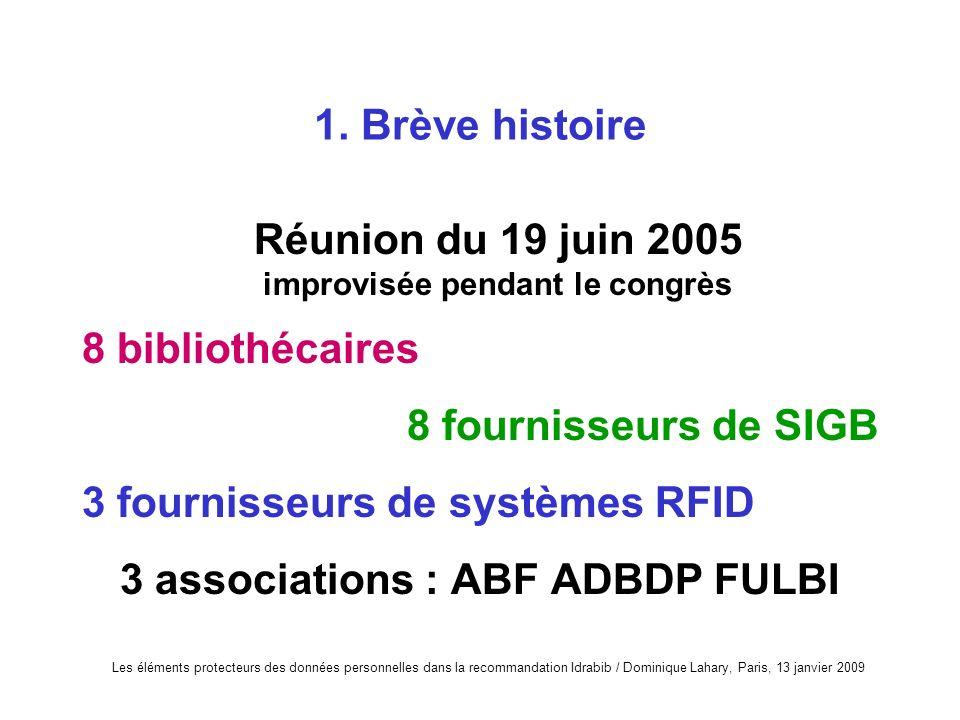 Les éléments protecteurs des données personnelles dans la recommandation Idrabib / Dominique Lahary, Paris, 13 janvier 2009 1. Brève histoire Réunion
