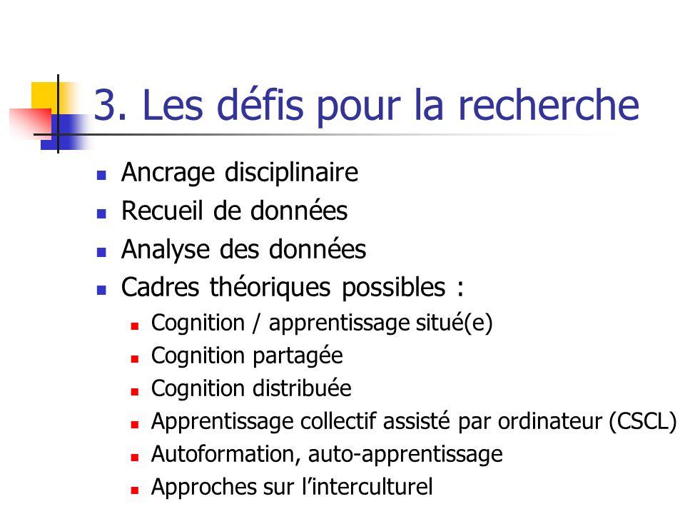 3. Les défis pour la recherche Ancrage disciplinaire Recueil de données Analyse des données Cadres théoriques possibles : Cognition / apprentissage si