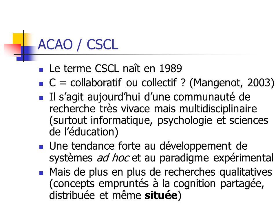 ACAO / CSCL Le terme CSCL naît en 1989 C = collaboratif ou collectif ? (Mangenot, 2003) Il sagit aujourdhui dune communauté de recherche très vivace m