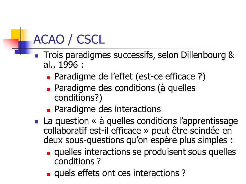 ACAO / CSCL Trois paradigmes successifs, selon Dillenbourg & al., 1996 : Paradigme de leffet (est-ce efficace ?) Paradigme des conditions (à quelles c