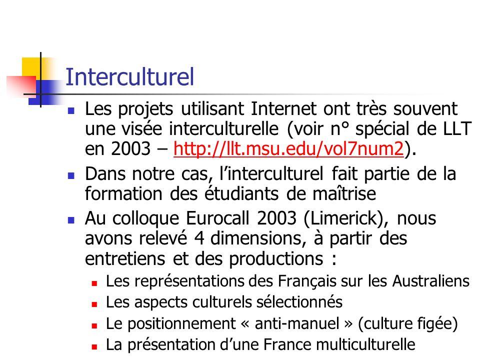 Interculturel Les projets utilisant Internet ont très souvent une visée interculturelle (voir n° spécial de LLT en 2003 – http://llt.msu.edu/vol7num2)