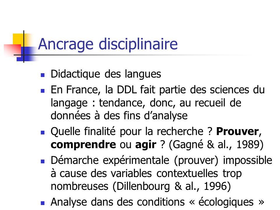 Ancrage disciplinaire Didactique des langues En France, la DDL fait partie des sciences du langage : tendance, donc, au recueil de données à des fins