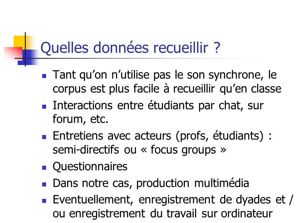 Quelles données recueillir ? Tant quon nutilise pas le son synchrone, le corpus est plus facile à recueillir quen classe Interactions entre étudiants