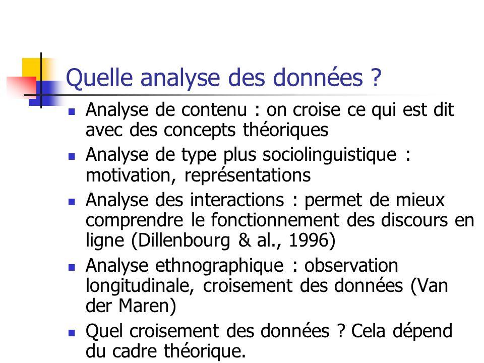 Quelle analyse des données ? Analyse de contenu : on croise ce qui est dit avec des concepts théoriques Analyse de type plus sociolinguistique : motiv