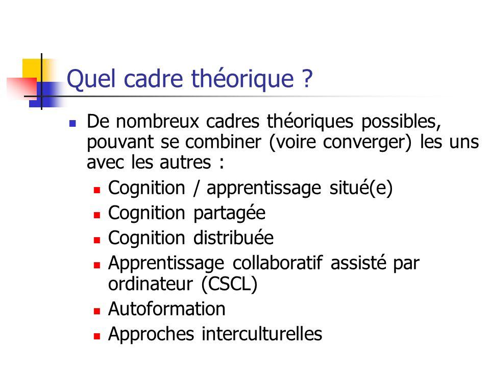Quel cadre théorique ? De nombreux cadres théoriques possibles, pouvant se combiner (voire converger) les uns avec les autres : Cognition / apprentiss