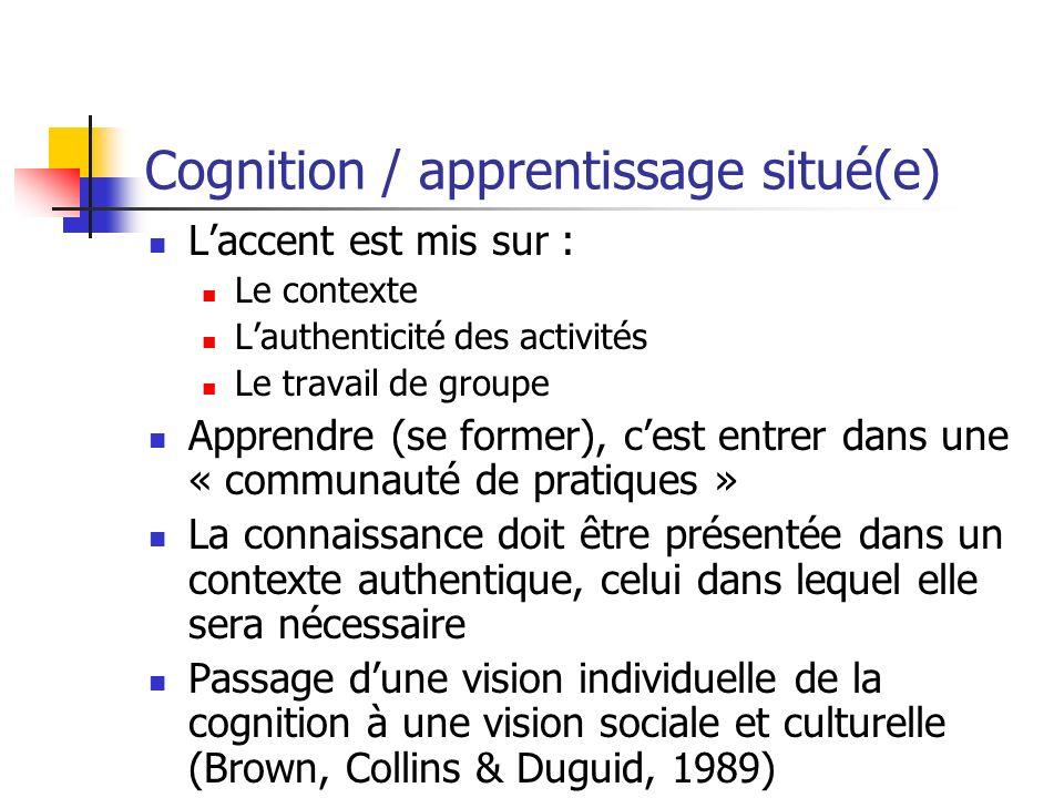 Cognition / apprentissage situé(e) Laccent est mis sur : Le contexte Lauthenticité des activités Le travail de groupe Apprendre (se former), cest entr