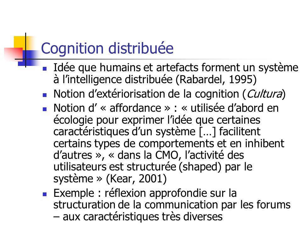 Cognition distribuée Idée que humains et artefacts forment un système à lintelligence distribuée (Rabardel, 1995) Notion dextériorisation de la cognit