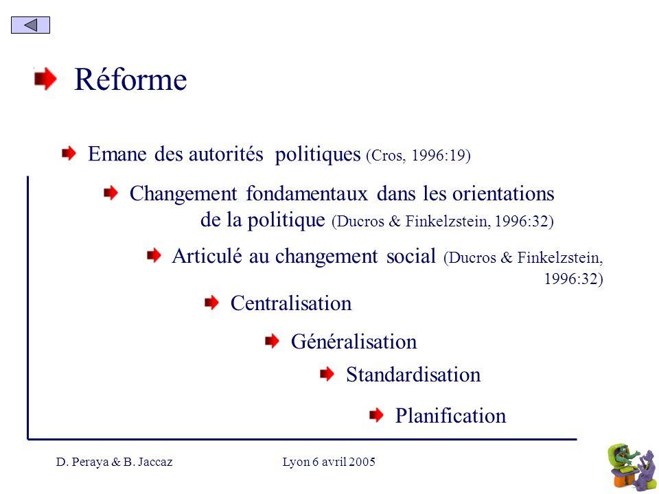 D. Peraya & B. JaccazLyon 6 avril 2005 Réforme Emane des autorités politiques (Cros, 1996:19) Centralisation Changement fondamentaux dans les orientat