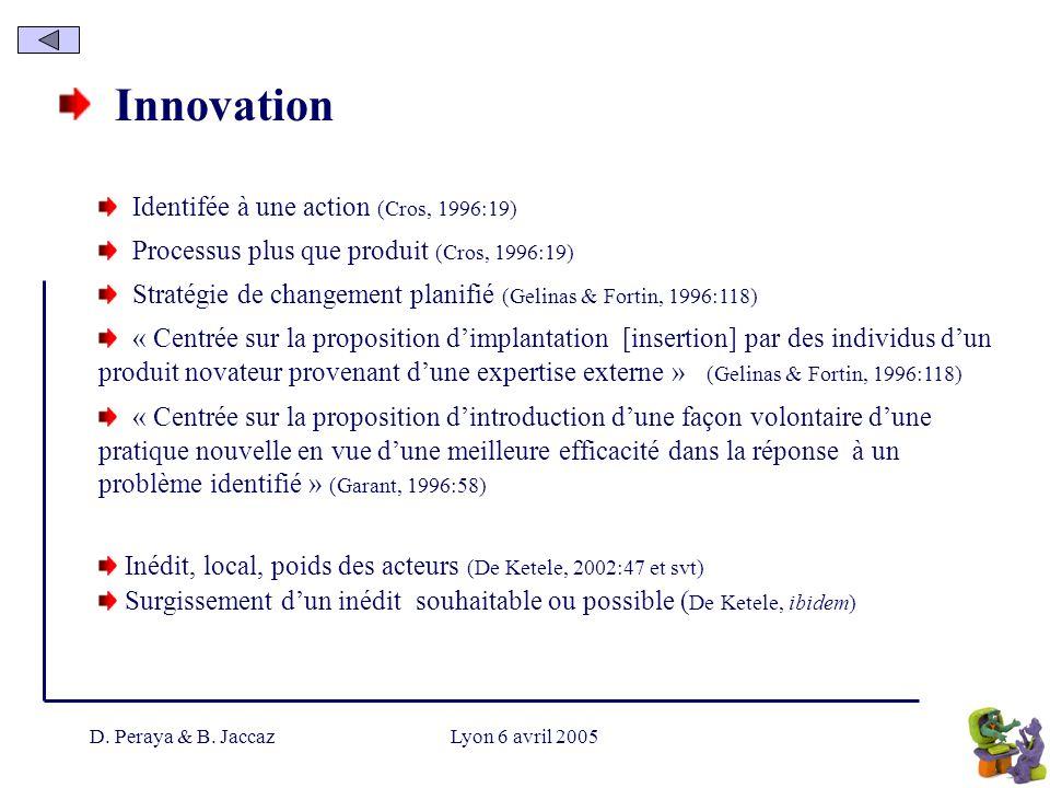 D. Peraya & B. JaccazLyon 6 avril 2005 Innovation Identifée à une action (Cros, 1996:19) Processus plus que produit (Cros, 1996:19) Stratégie de chang