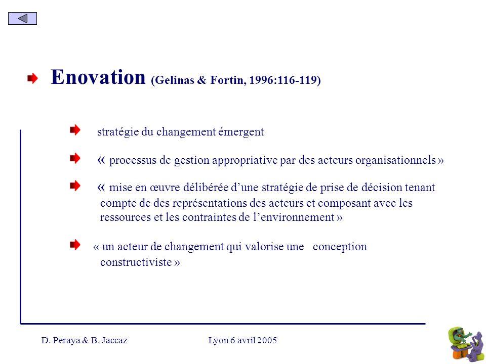 D. Peraya & B. JaccazLyon 6 avril 2005 Enovation (Gelinas & Fortin, 1996:116-119) stratégie du changement émergent « processus de gestion appropriativ