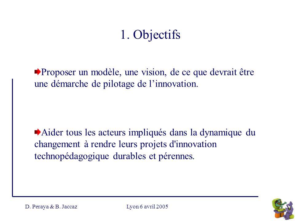 D. Peraya & B. JaccazLyon 6 avril 2005 1. Objectifs Proposer un modèle, une vision, de ce que devrait être une démarche de pilotage de linnovation. Ai