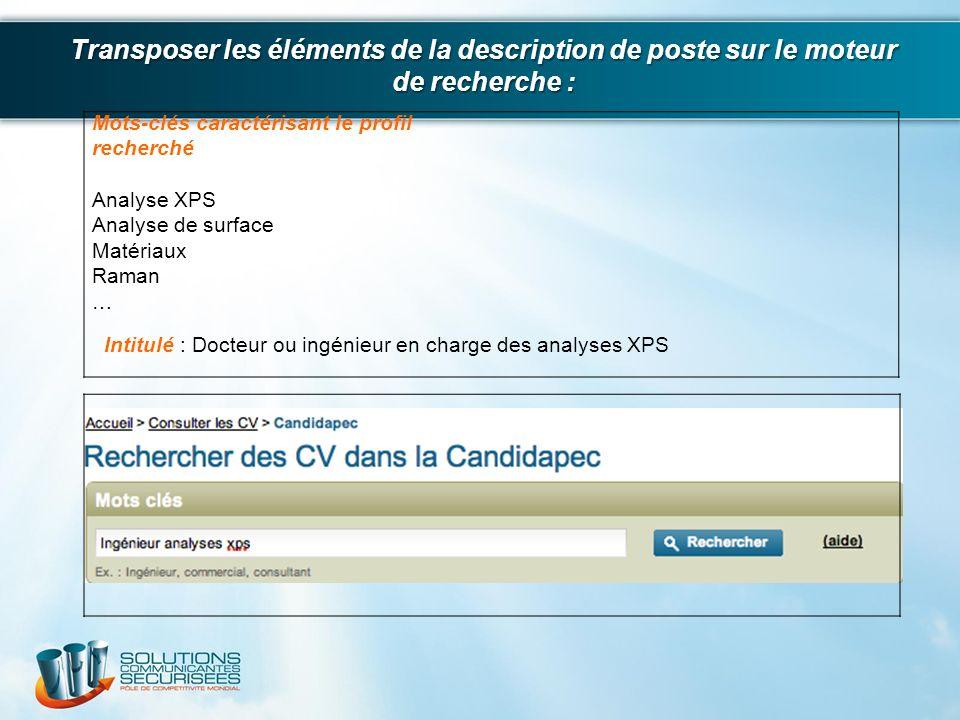 Mots-clés caractérisant le profil recherché Analyse XPS Analyse de surface Matériaux Raman … Intitulé : Docteur ou ingénieur en charge des analyses XP