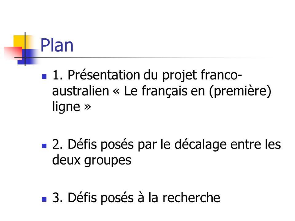 Plan 1. Présentation du projet franco- australien « Le français en (première) ligne » 2. Défis posés par le décalage entre les deux groupes 3. Défis p