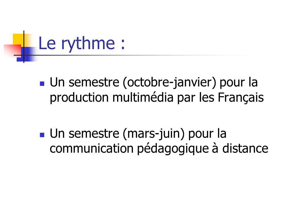 Le rythme : Un semestre (octobre-janvier) pour la production multimédia par les Français Un semestre (mars-juin) pour la communication pédagogique à d
