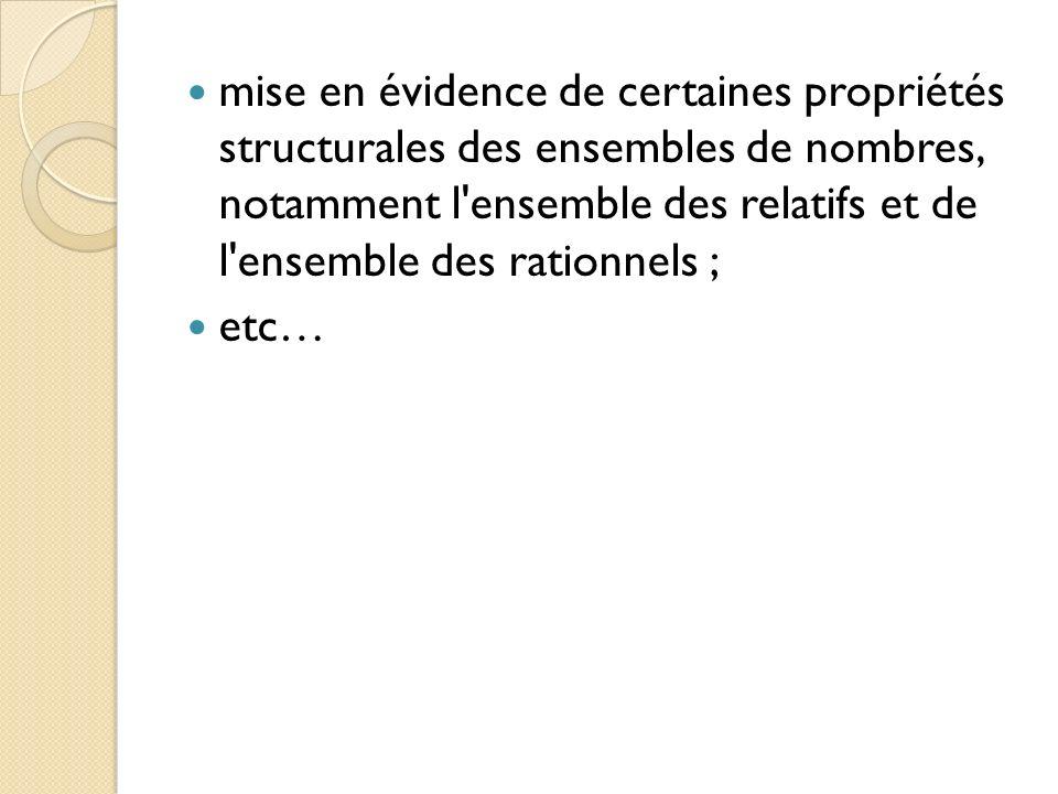 mise en évidence de certaines propriétés structurales des ensembles de nombres, notamment l'ensemble des relatifs et de l'ensemble des rationnels ; et