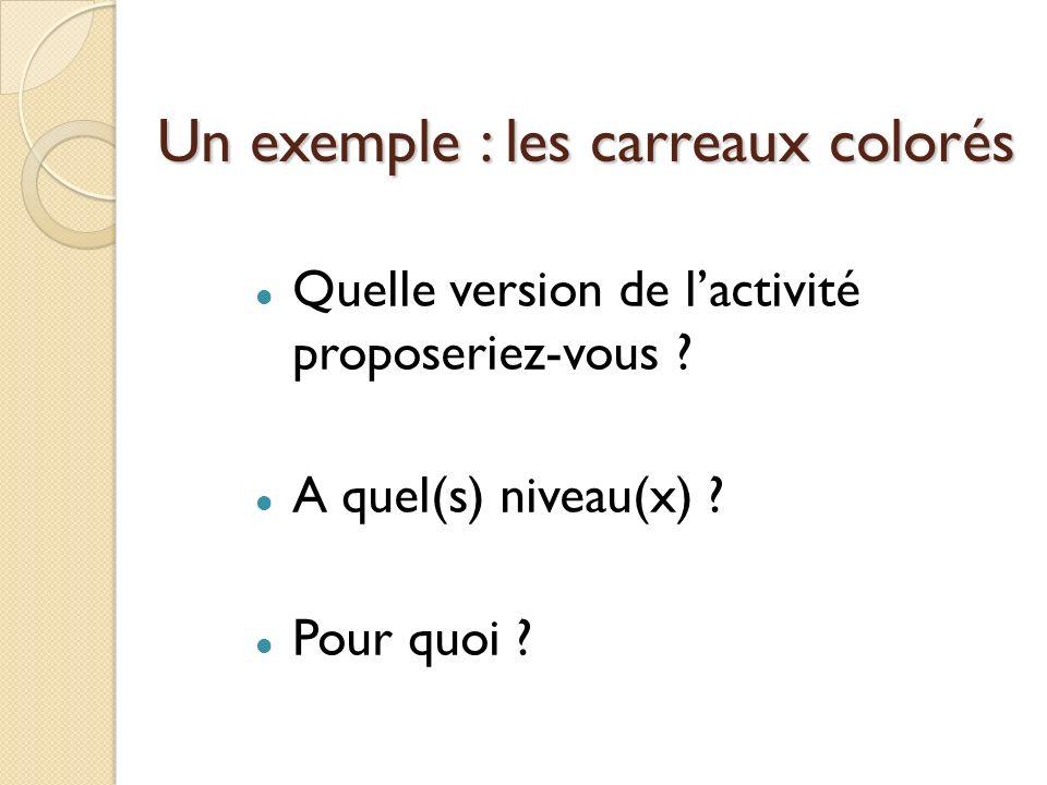 Un exemple : les carreaux colorés Quelle version de lactivité proposeriez-vous ? A quel(s) niveau(x) ? Pour quoi ?