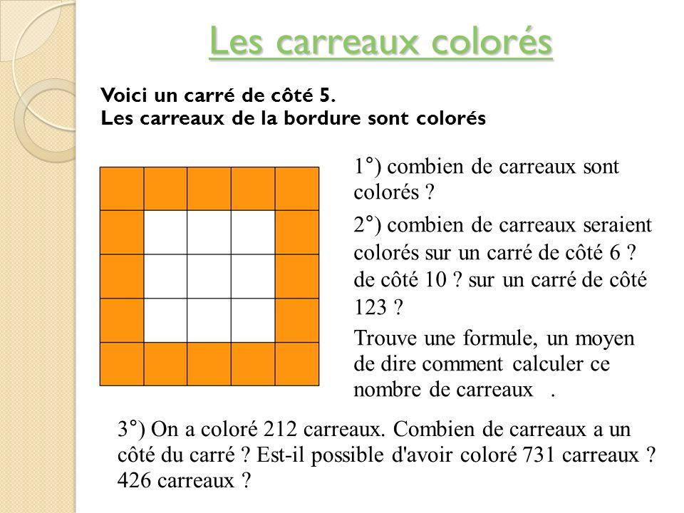 Les carreaux colorés Les carreaux colorés 1°) combien de carreaux sont colorés ? 2°) combien de carreaux seraient colorés sur un carré de côté 6 ? de