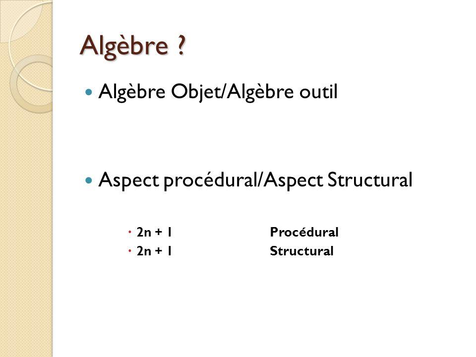 Algèbre ? Algèbre Objet/Algèbre outil Aspect procédural/Aspect Structural 2n + 1Procédural 2n + 1Structural
