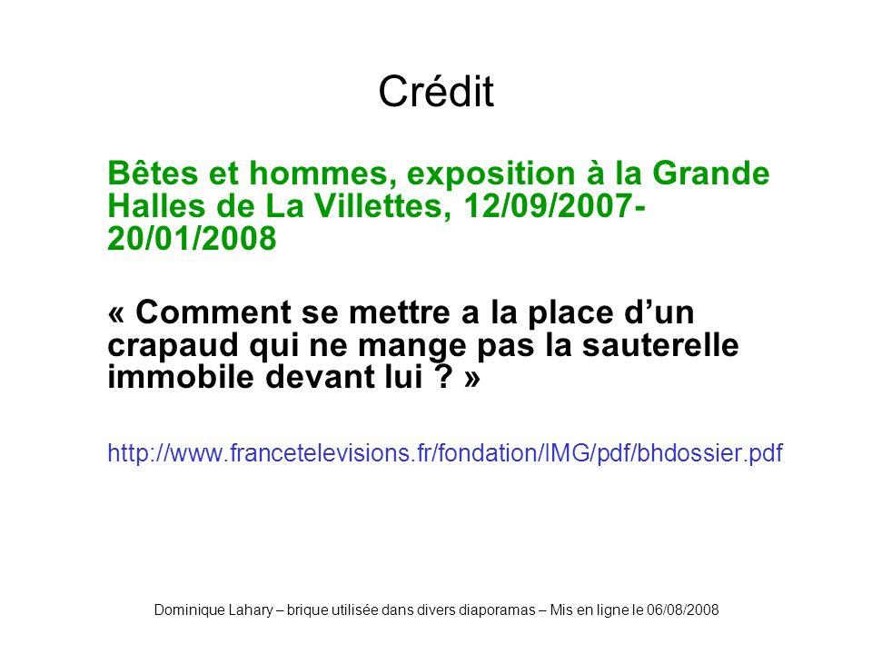 Dominique Lahary – brique utilisée dans divers diaporamas – Mis en ligne le 06/08/2008 Crédit Bêtes et hommes, exposition à la Grande Halles de La Vil