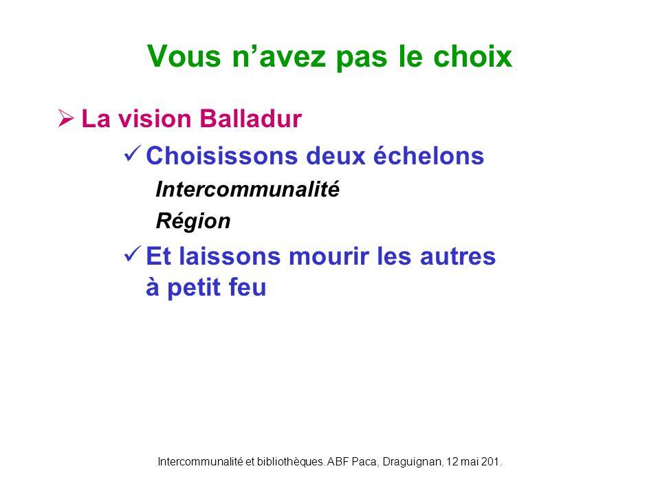 Intercommunalité et bibliothèques. ABF Paca, Draguignan, 12 mai 201. La vision Balladur Choisissons deux échelons Intercommunalité Région Et laissons