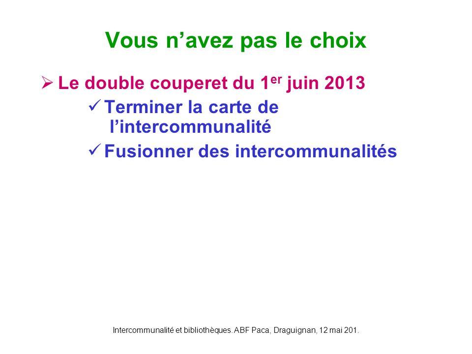 Intercommunalité et bibliothèques. ABF Paca, Draguignan, 12 mai 201. Le double couperet du 1 er juin 2013 Terminer la carte de lintercommunalité Fusio