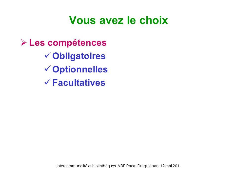 Intercommunalité et bibliothèques. ABF Paca, Draguignan, 12 mai 201. Les compétences Obligatoires Optionnelles Facultatives Vous avez le choix