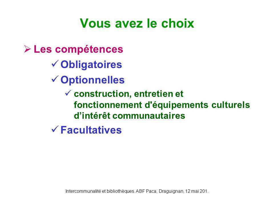 Intercommunalité et bibliothèques. ABF Paca, Draguignan, 12 mai 201. Les compétences Obligatoires Optionnelles construction, entretien et fonctionneme
