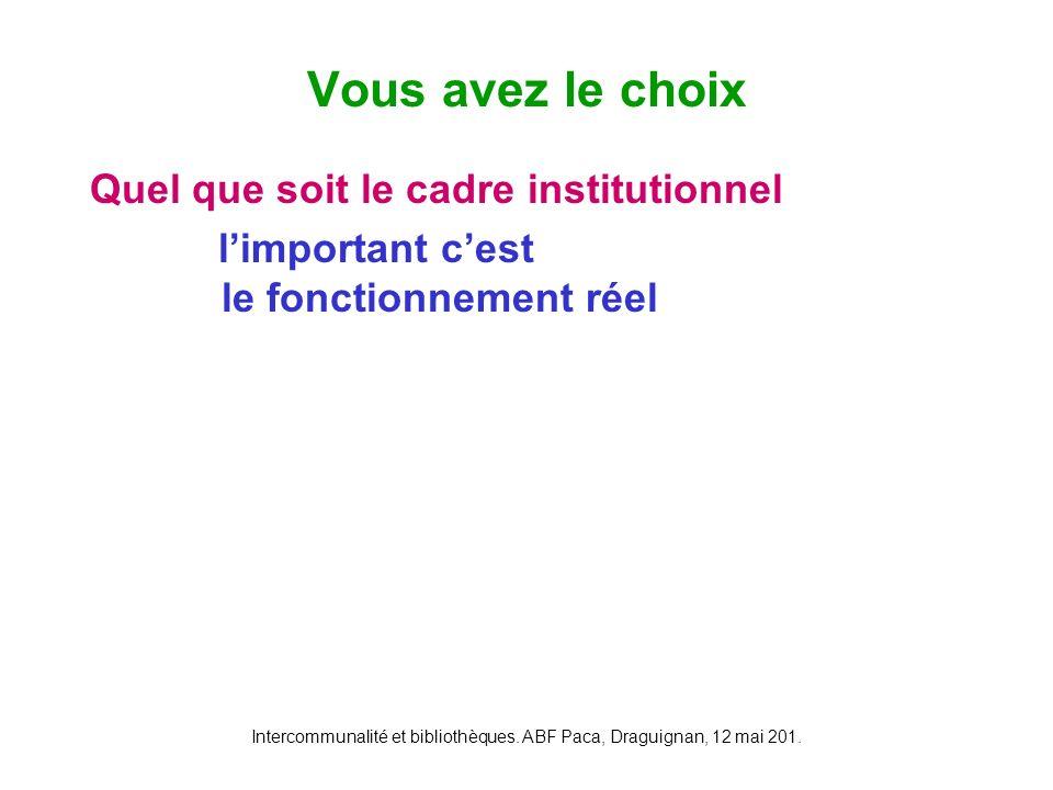 Intercommunalité et bibliothèques. ABF Paca, Draguignan, 12 mai 201. Quel que soit le cadre institutionnel limportant cest le fonctionnement réel Vous