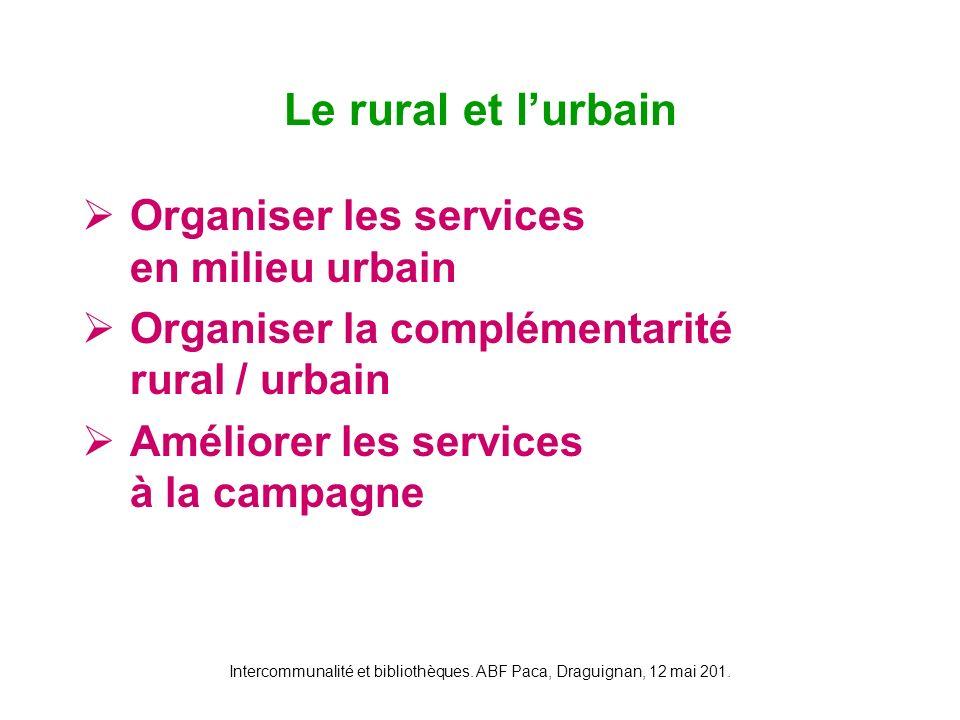 Intercommunalité et bibliothèques. ABF Paca, Draguignan, 12 mai 201. Organiser les services en milieu urbain Organiser la complémentarité rural / urba