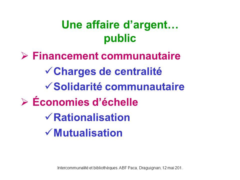 Intercommunalité et bibliothèques. ABF Paca, Draguignan, 12 mai 201. Financement communautaire Charges de centralité Solidarité communautaire Économie